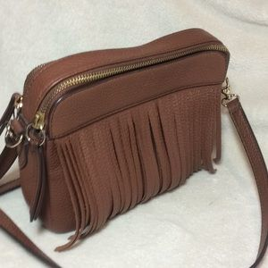 FOSSIL cow hide leather fringe purse cross body